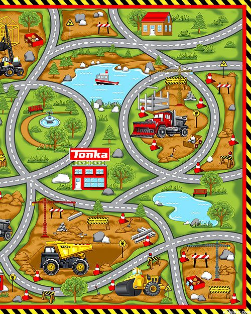 Road Work Tonka Truck Play Mat 36 X 44 Panel Quilt Fabrics From Www Equilter Com