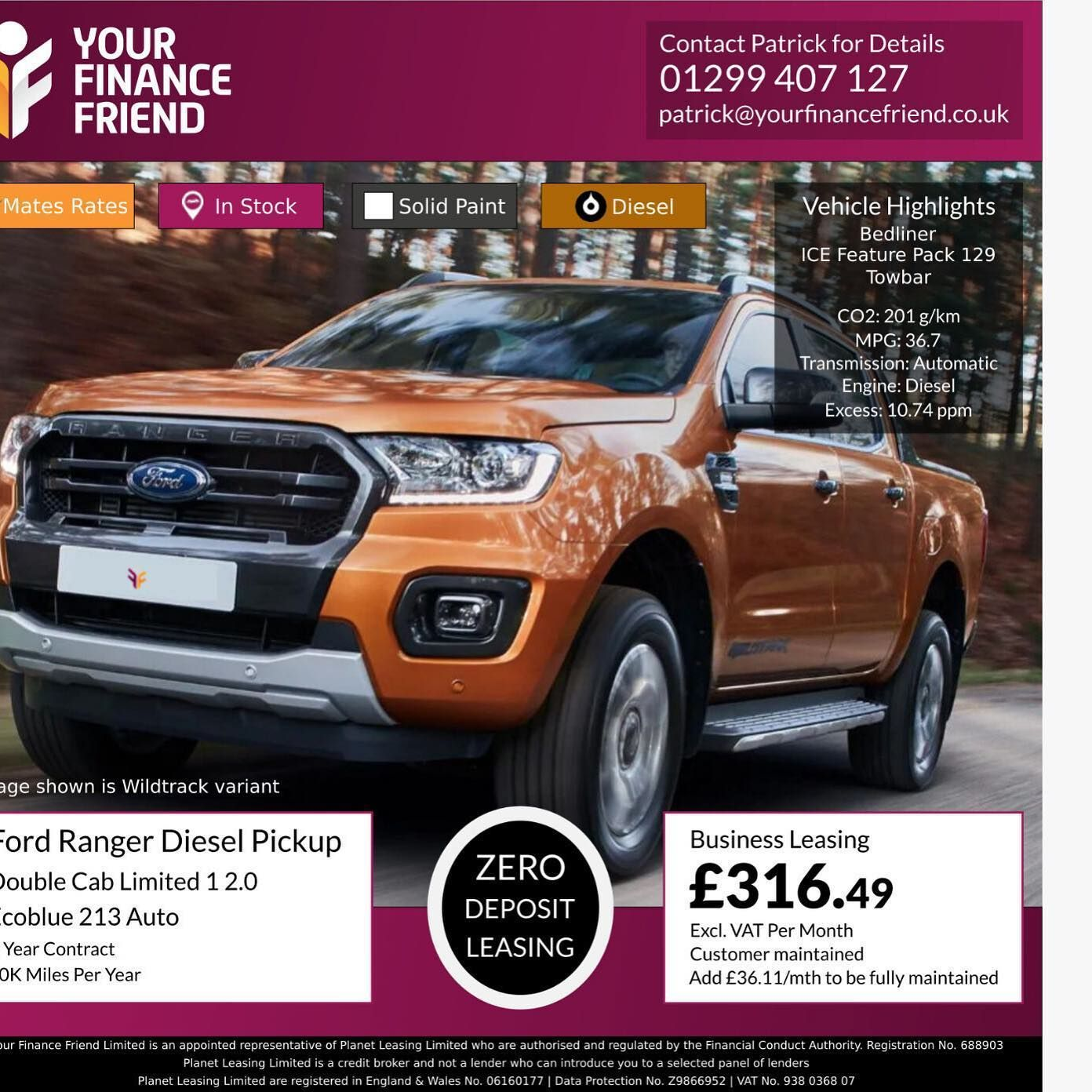Ford ranger diesel pickup double cab limited 1 20