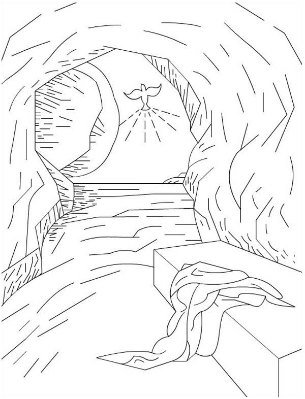 The Empty Tomb In Jesus Resurrection Coloring Page Cross