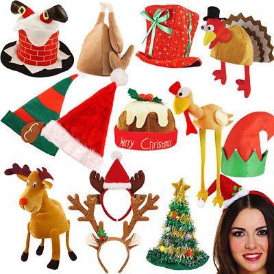 528c9371 Adult Unisex Festive Christmas Santa Elf Reindeer Xmas Hat Fancy Dress  Accessory Christmas Decorations & Trees ...
