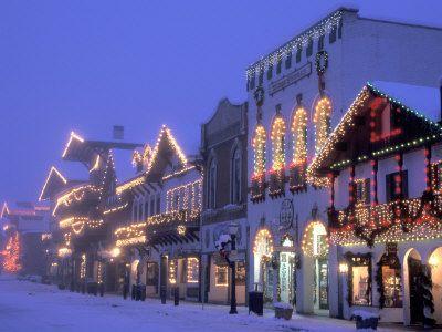 Main Street with Christmas Lights at Night, Leavenworth, Washington, USA.
