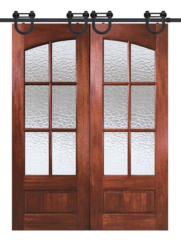 96 Mahogany Tdl 6 Lite Arch Double Door Double Barn Doors Glass Barn Doors Barn Door