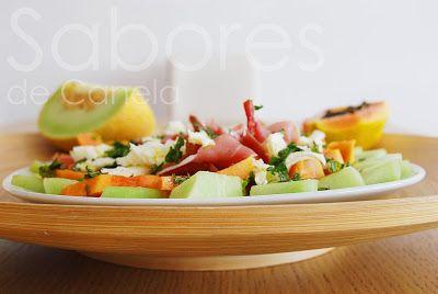 : Salada de papaia,meloa e presunto com molho de hor...