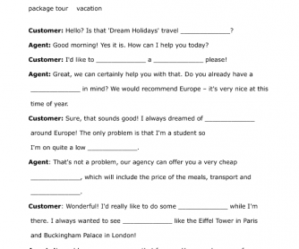 Travel Agent Customer Gap Fill Exercise Role Play Travel Agent