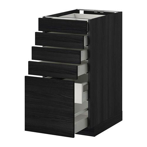 METOD / MAXIMERA Pöytäkaappi 5 etusrj/4 ma/2 ke laat - puukuvioitu musta, Tingsryd puukuvioitu musta, 40x60 cm - IKEA