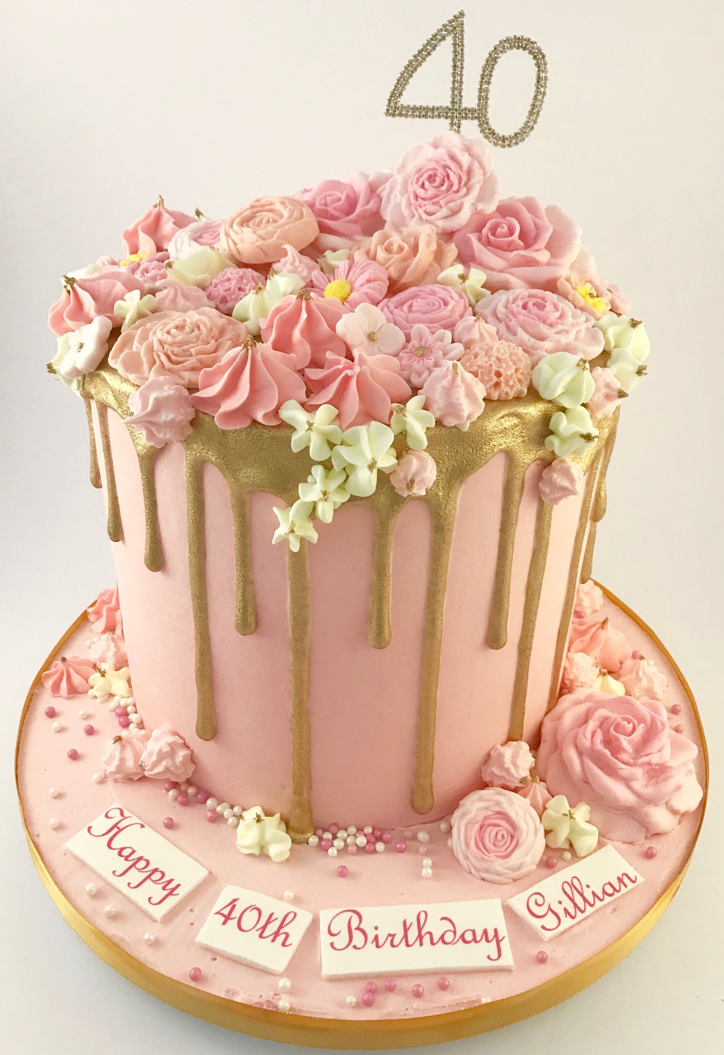 Pink And Gold Drip Cake With Sugar Flowers Thedanesbakery With
