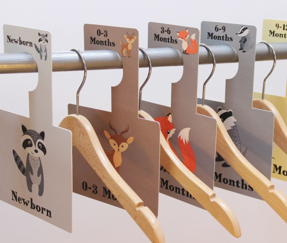 These 7 Woodland Animal Illustrated Nursery Wardrobe Dividers Give You A  Simple And Stylish Way To