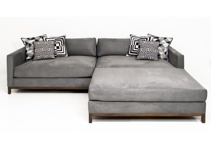 Elegant Extra New Deep Sectional In Charcoal Velvet