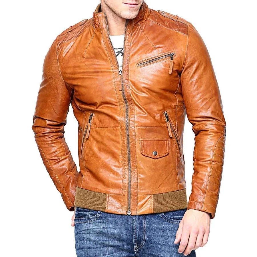 Men's Slim Fit Real Tan Biker Leather Jacket in 2020