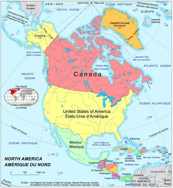 North America This political map of North America shows national