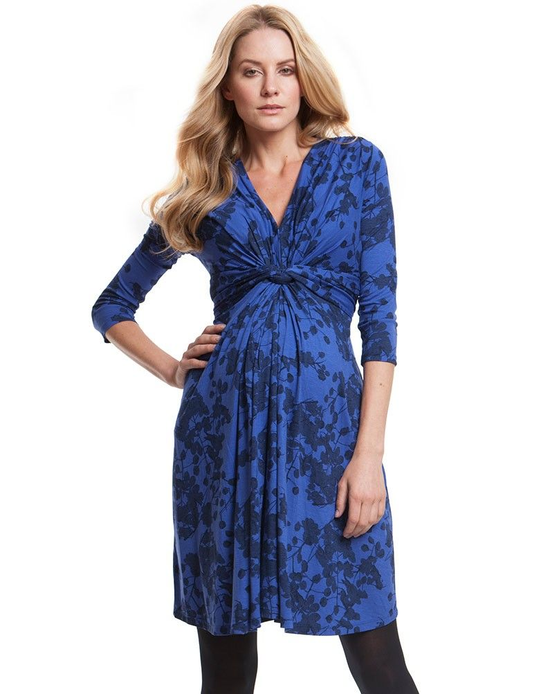 2fcc159305f Seraphine This stylish little blue blossom printed maternity dress is the  latest incarnation of our signature knot front dress! The graphic floral  print is ...