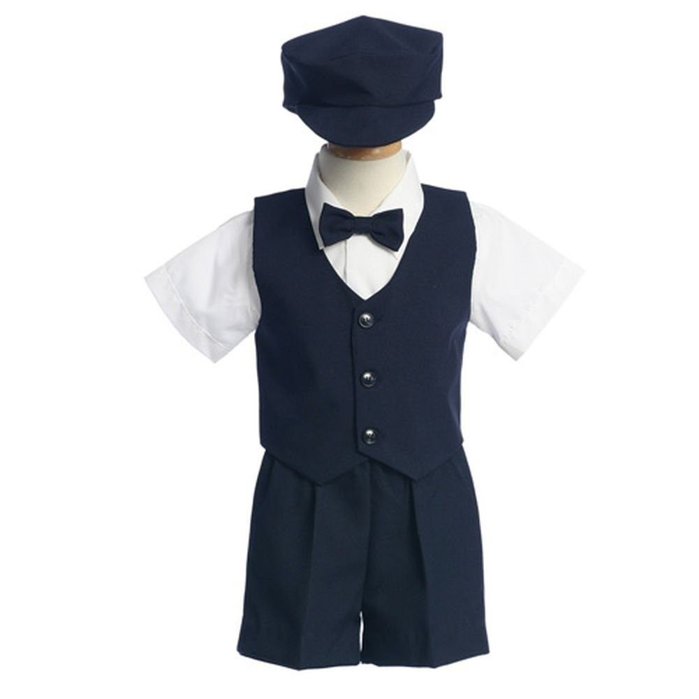 Lito Boys Navy Vest Shorts Easter Ring Bearer Formal Wear Suit 12M-4T