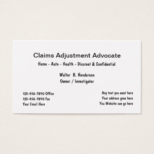 Simple Insurance Claims Adjuster Business Card Zazzle Com