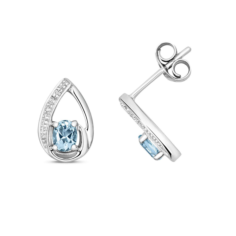 facf16358 9ct White Gold & Diamond 9x6mm Pear Cut 0.29ct Aquamarine Stud Earrings