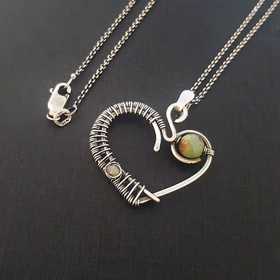 925 sterling wire heart pendant necklace/ turquoise silver heart ...
