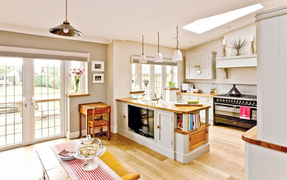 Country Style Living Room Open Plan Small Kitchen Diner
