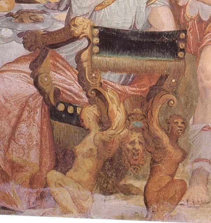 Détail de Cleopatras chaise de fresque Fête d'Antonio et Cléopâtre de Giovanni Antonio Fasolo dans la villa de Porto Colleoni, Thiene, Italie