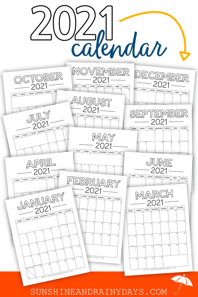 2021 Calendar - Simple (PDF) in 2020 | 2021 calendar ...