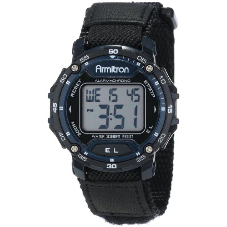 Armitron Sport Unisex 40/8291BLU Black Velcro Strap Blue