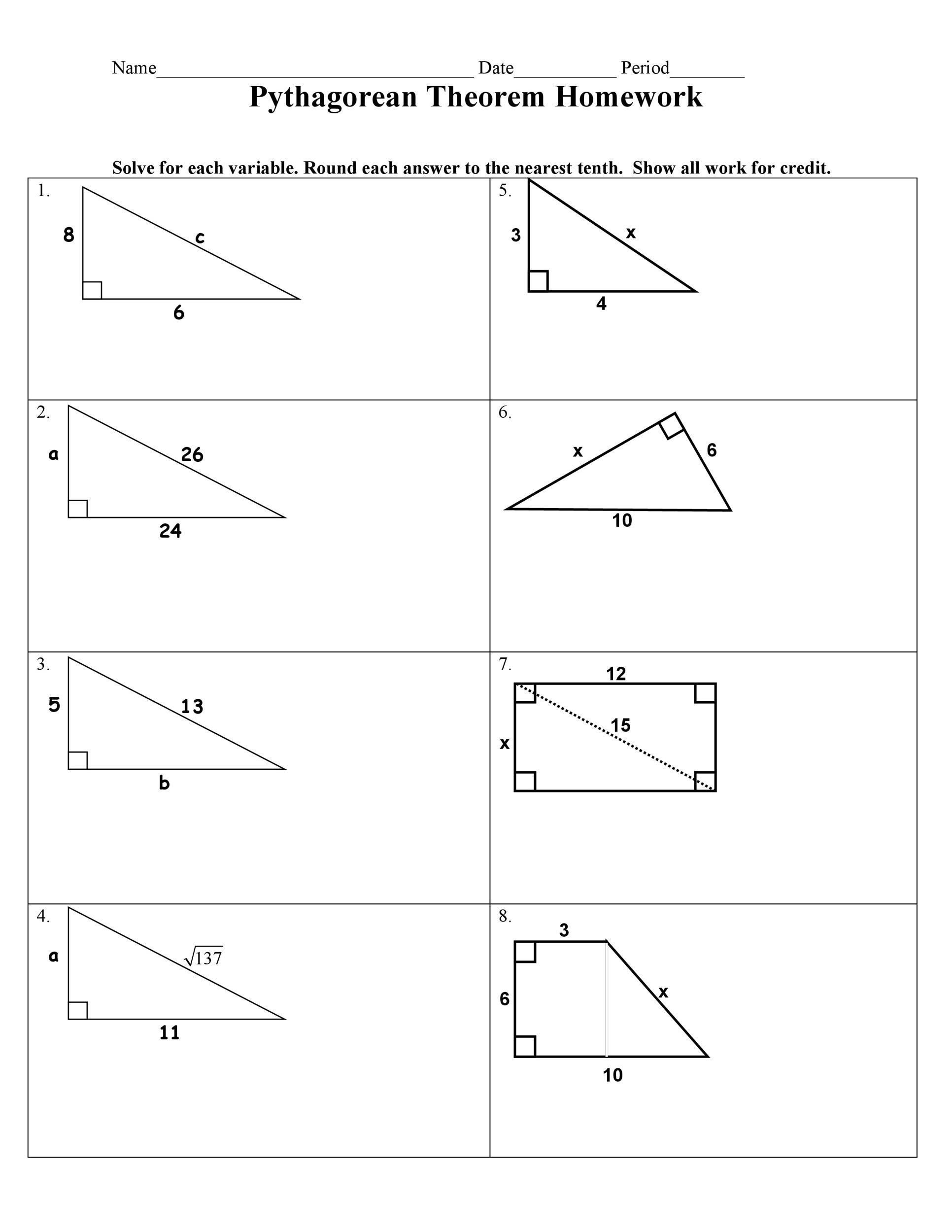 Pythagorean Theorem Worksheet With Answers 48 Pythagorean Theorem Worksheet With Answers Word Pdf