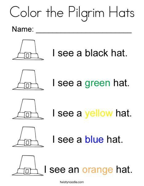 Color The Pilgrim Hats Coloring Page Pilgrim Hat Coloring Pages Thanksgiving Coloring Pages
