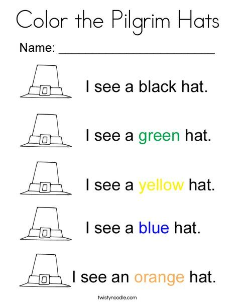 Color The Pilgrim Hats Coloring Page