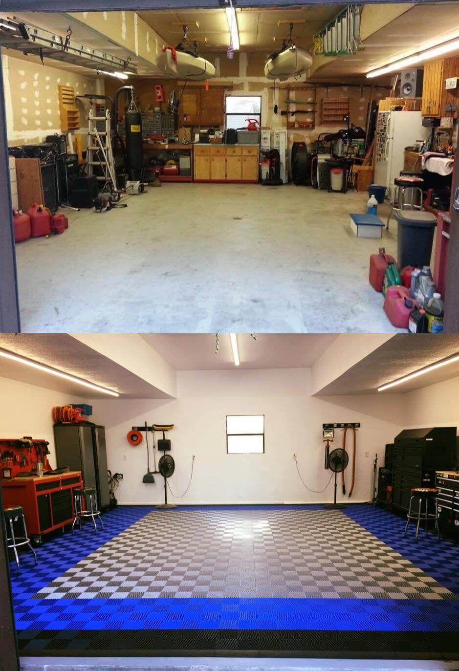 Garage floor tile for shop flooring before and after
