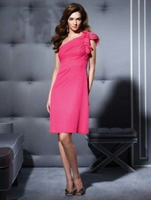 ddc8a95af7 Cute Bridesmaid Dress short hot pink knee length one shoulder chiffon