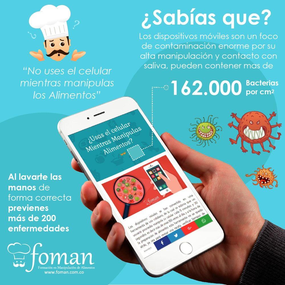 Usas El Celular Mientras Manipulas Alimentos Higiene De Los Alimentos Higiene Alimentaria Seguridad En Los Alimentos