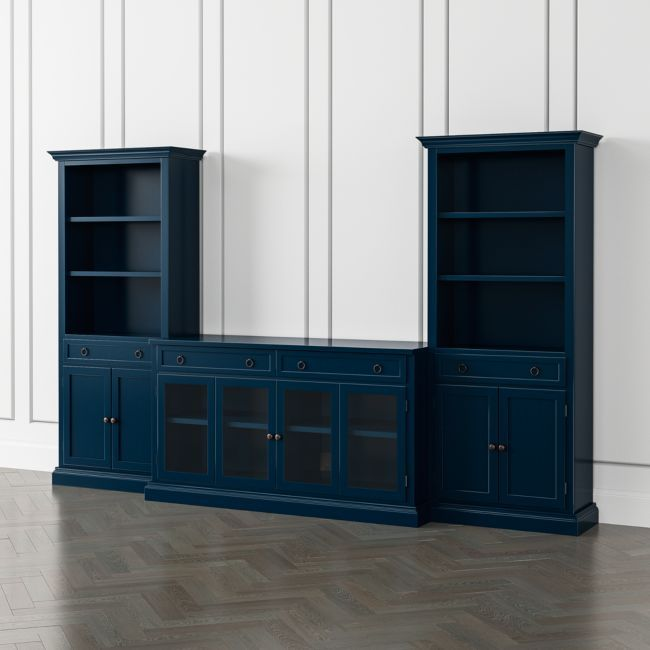 Cameo Indigo 3-Piece Glass Door Entertainment Center with Storage Bookcases | Crate and Barrel