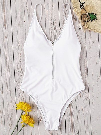 Zipper Front Low Back One Piece Swimwear
