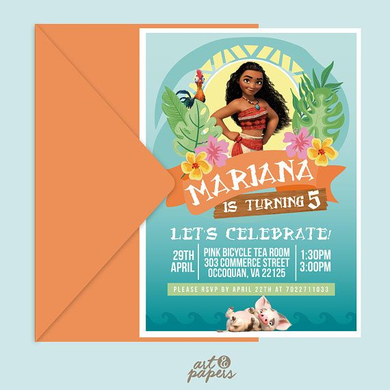 graphic regarding Printable Moana Invitations named Printable Moana invitation - Moana birthday invite - Moana