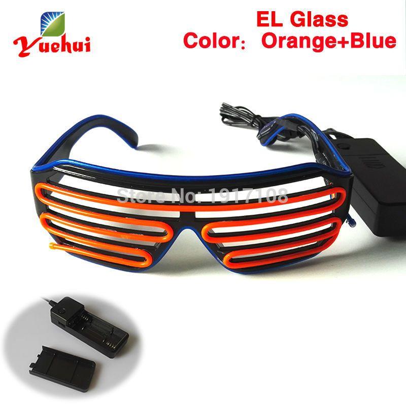 Bi-Color EL Wire LED Glasses Luminous Colorful Glowing Shutter ...