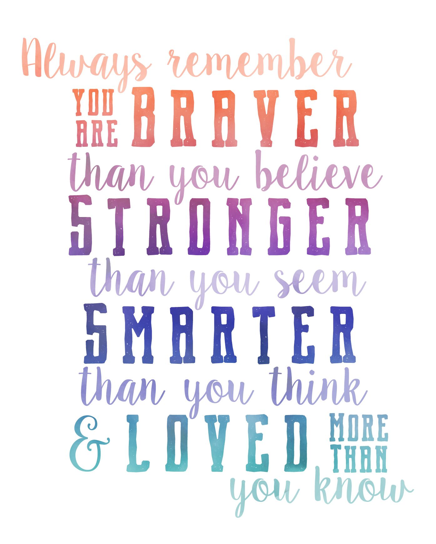 Always Remember, you are BRAVER than you believe, STRONGER