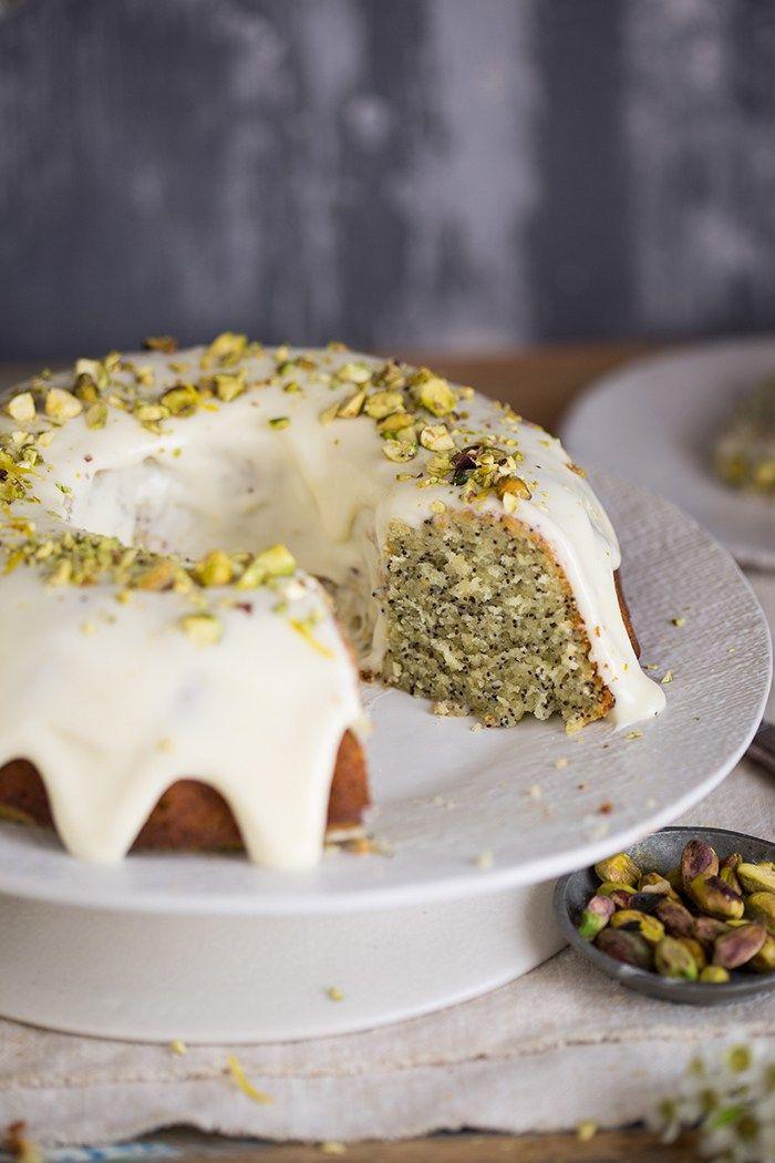 lemon poppyseed yoghurt cake with lemon creme fraiche icing