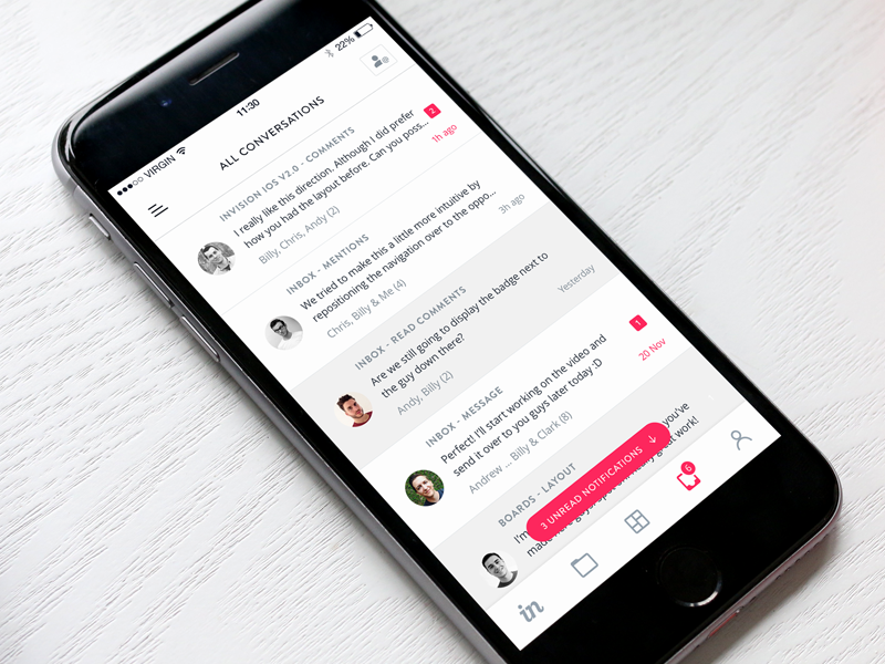 InVision Inbox for iOS by Charles Patterson for InVision