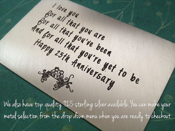Copper wallet card insert engraved wallet card st anniversary