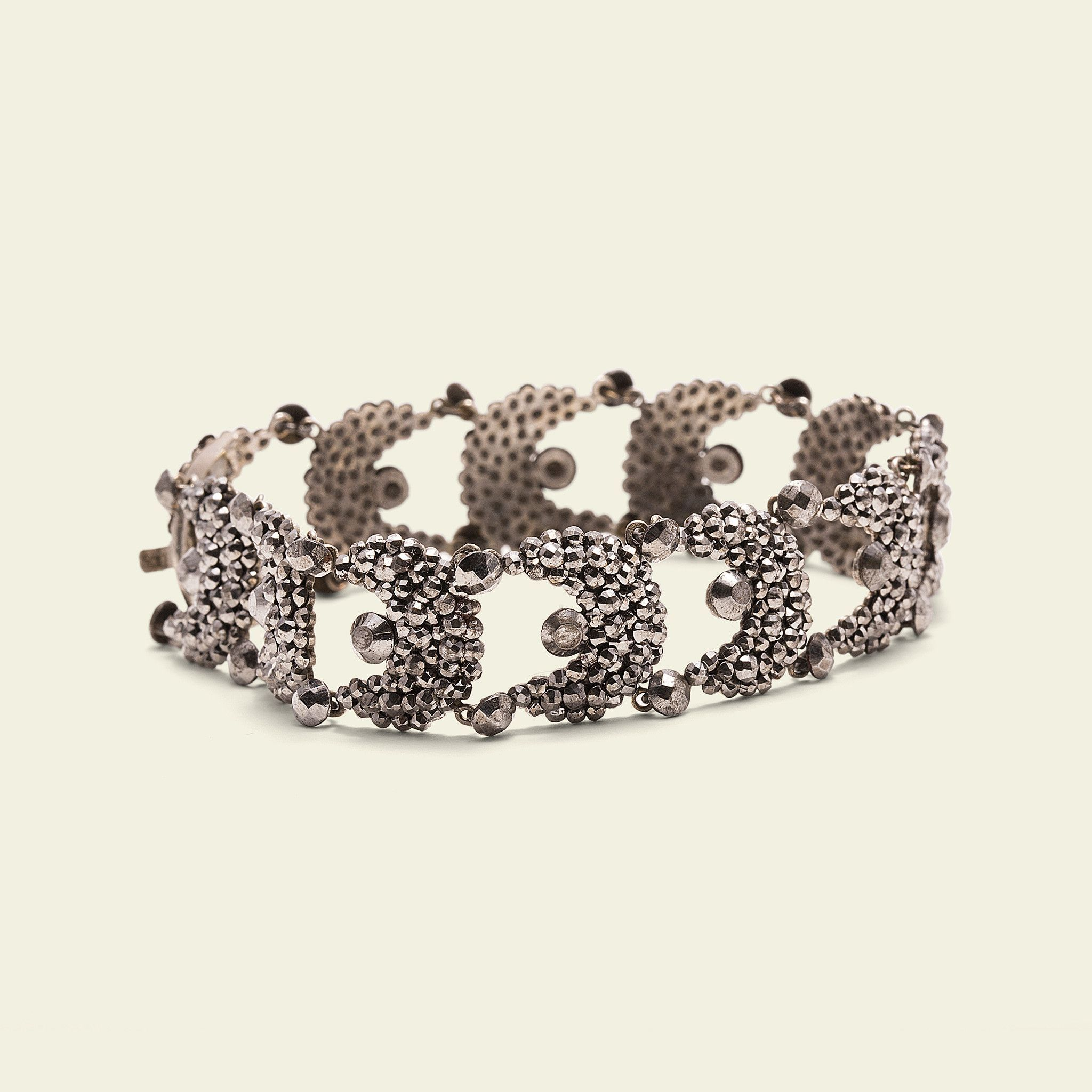 """7"""" cut steel bracelet c1800 needs small repair and oil links measure about 5/8"""" ((about))The early manufacture of cut-steel jewelry was painstaking work: each individual stud was faceted by hand and t"""