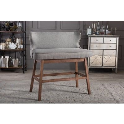 Gradisca Modern Gray Button Tufted Bar Bench Settees