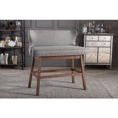 Gradisca Modern Gray Button Tufted Bar Bench Settees