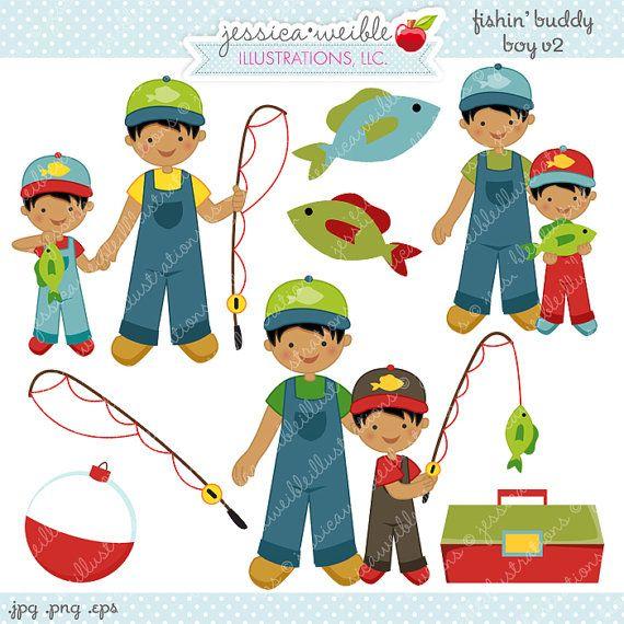Fishin Buddy Boy V2 Cute Digital Clipart By Jwillustrations Digital Clip Art Fish Clipart Clip Art
