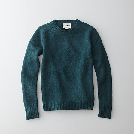 acne at steven alan. photo doesnt do justice to how gorgeous the deep teal color is. lovely with deep coral/pink. CLEMENTINE CREW NECK SWEATER