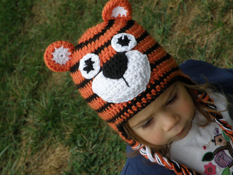 Crochet tiger earflap hat
