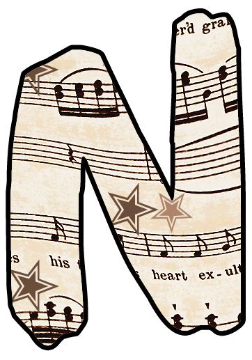 Alphabet Set Vintage Sheet Music Clipart Prints For Cards