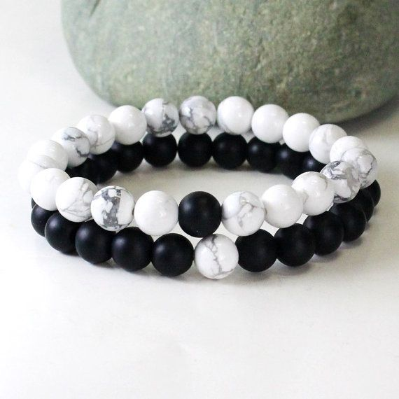 S Bracelet Howlite Onyx Friendship Relationship Set Gift His Hers