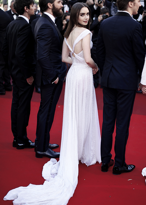 Lily Collins attends the 'Okja' premiere during the 70th Annual Cannes Film Festival in Cannes, France (05.19.17).