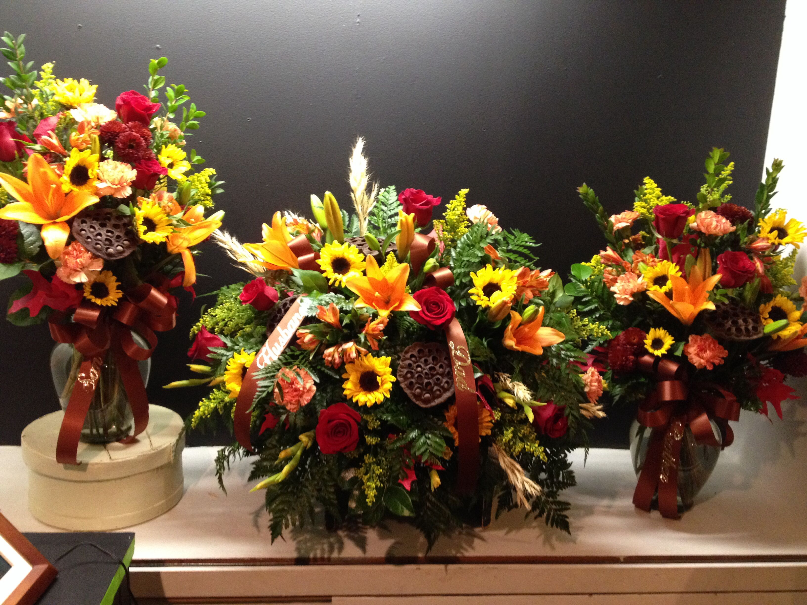 Fall Casket Spray With Matching Side Arrangements Sympathy And