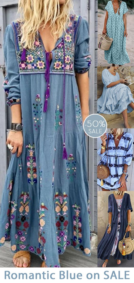 Womens casual maxi dress now 50% OFF.| Soft Blue collection.| Daily must-have.| SHOP NOW!