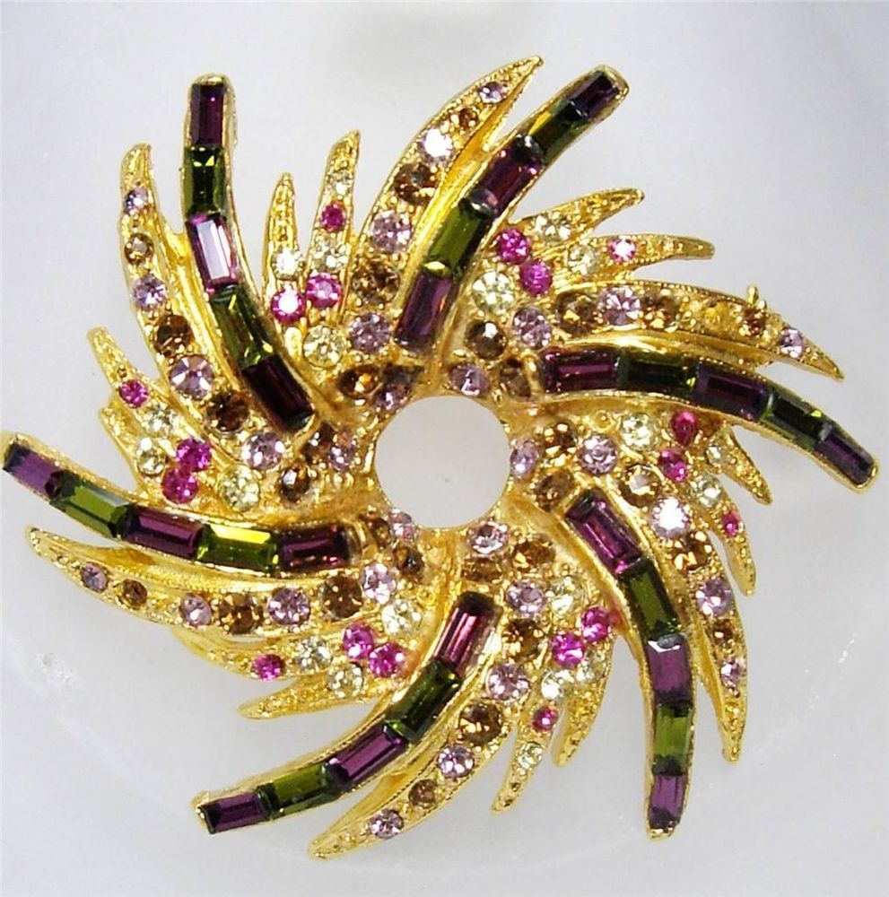 "Vintage PELL Olive & Amethyst Purple Baguette Rhinestone WREATH Pin Brooch 2""   awesome"