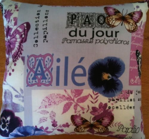 Butterfly & Pansy Lavender Cushion - Handmade
